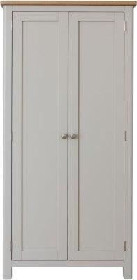 Portland Oak and Dove Grey Painted 2 Door Wardrobe