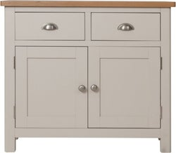 Portland Oak and Dove Grey Painted 2 Door 2 Drawer Sideboard