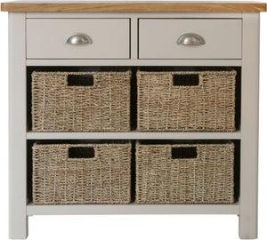Portland Oak and Dove Grey Painted 2 Drawer 4 Basket Unit