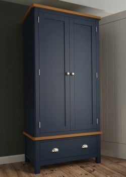 Portland Oak and Blue Painted 2 Door 1 Drawer Gents Wardrobe