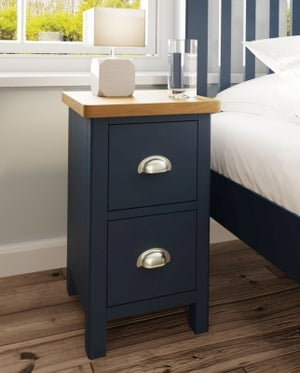 Portland Oak and Blue Painted 2 Drawer Bedside Cabinet