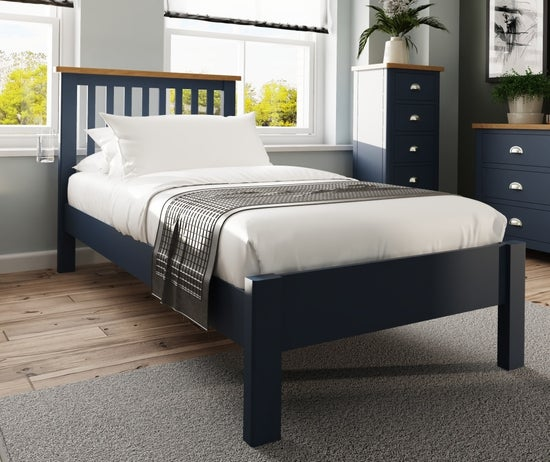 Portland Oak and Blue Painted 3ft Single Bed