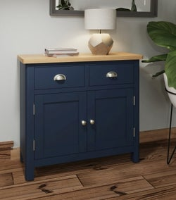 Portland Oak and Blue Painted 2 Door 2 Drawer Sideboard