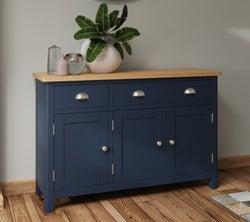 Portland Oak and Blue Painted 3 Door 3 Drawer Sideboard