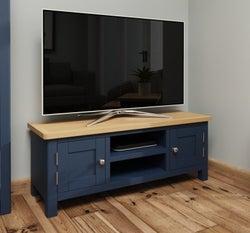 Portland Oak and Blue Painted Large TV Unit