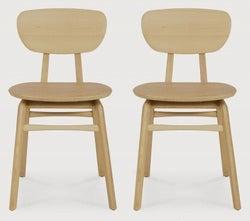 Ethnicraft Oak Pebble Dining Chair (Pair)