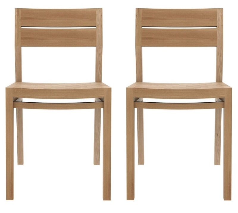Ethnicraft Oak Ex 1 Contract Grade Dining Chair (Pair)