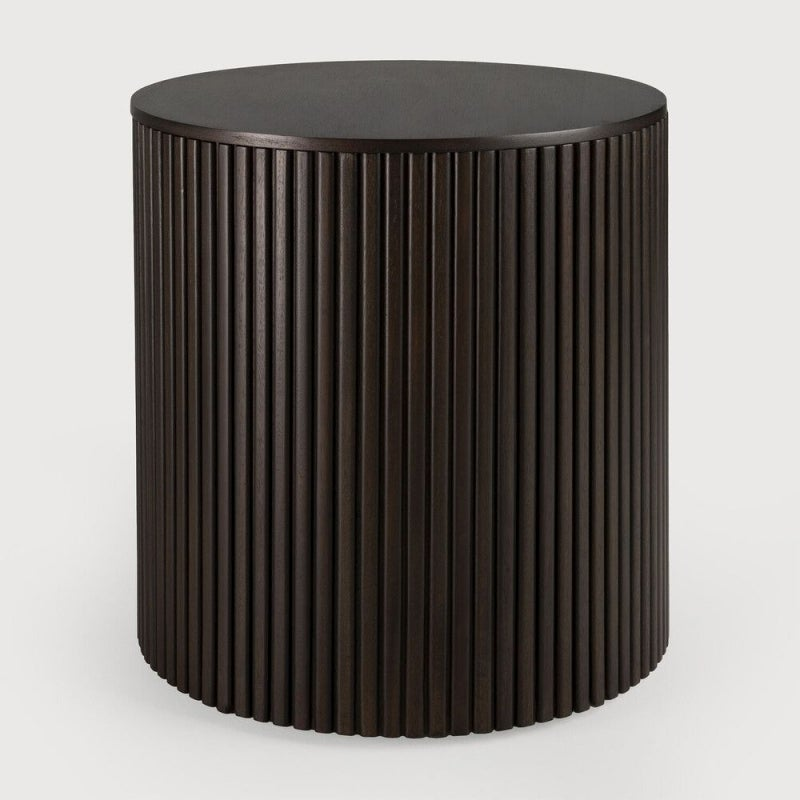Ethnicraft Mahogany Roller Max Dark Brown Round Side Table