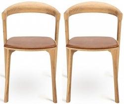 Ethnicraft Oak Bok Cognac Leather Dining Chair (Pair)