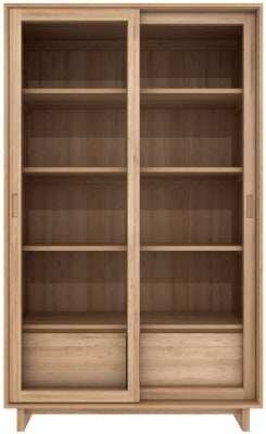 Ethnicraft Oak Wave 2 Sliding Glass Door 2 Drawer Storage Cupboard