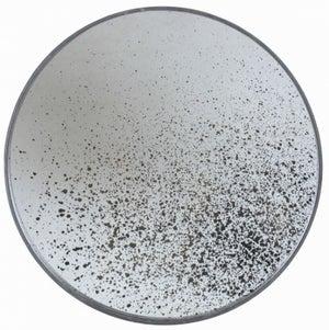Notre Monde Clear Light Aged Wooden Frame Medium Round Mirror - 61cm