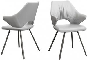 Zola White Faux Leather and Graphite Dining Chair (Pair)