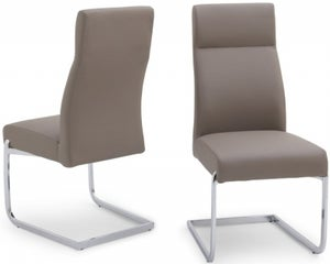 Dante Dining Chair (Pair) - Taupe Faux Leather and Chrome