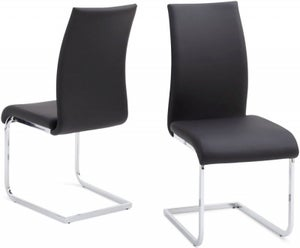 Paolo Dining Chair (Pair) - Black Faux Leather and Chrome
