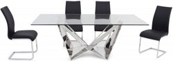 Florentina Glass Dining Table and 4 Paolo Chairs - Chrome and Black