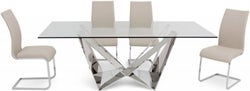 Florentina Glass Dining Table and 4 Paolo Chairs - Chrome and Cream