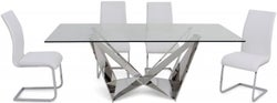 Florentina Glass Dining Table and 4 Paolo Chairs - Chrome and White