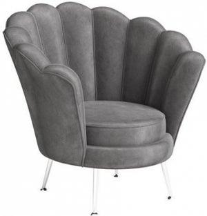 Erica Dark Grey Velvet and Chrome Lounge Chair