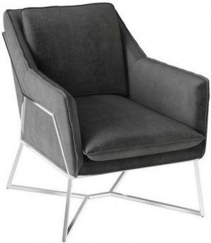 Lara Dark Grey Velvet and Chrome Lounge Chair