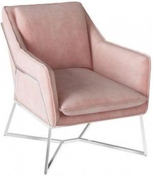 Lara Pink Velvet and Chrome Lounge Chair