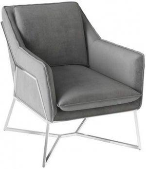 Lara Silver Grey Velvet and Chrome Lounge Chair