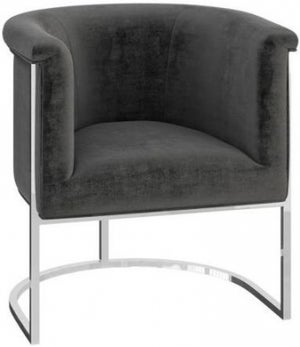 Martina Dark Grey Velvet and Chrome Lounge Chair