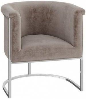 Martina Mink Velvet and Chrome Lounge Chair