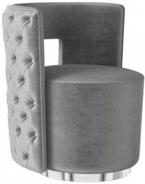 Tamara Silver Grey Velvet and Chrome Lounge Chair