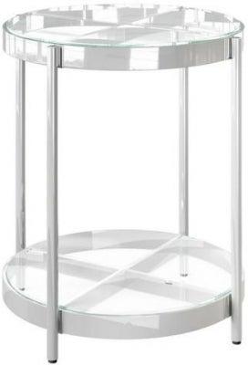 Omari Glass and Chrome Side Table