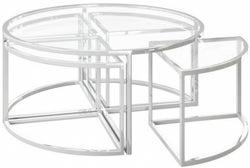 Omari Grande Glass and Chrome Coffee Table Set