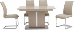 Silvio Cream High Gloss Butterfly Extending Dining Table and 4 Paolo Cream Chairs