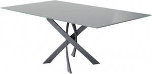 Sirocco Grey Glass Top Swivel Extending Dining Table