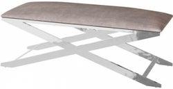Vertue Mink Plush Velvet and Chrome Bench