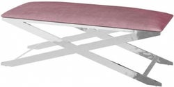 Vertue Pink Plush Velvet and Chrome Bench
