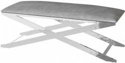 Vertue Silver Grey Plush Velvet and Chrome Bench