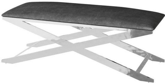 Vertue Black Plush Velvet and Chrome Bench