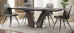 Westin Grey Ceramic Butterfly Extending Dining Table and 4 Alexa Dark Grey Chairs