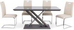 Xavi Grey Walnut Dining Table and 4 Gabi Cream Chairs