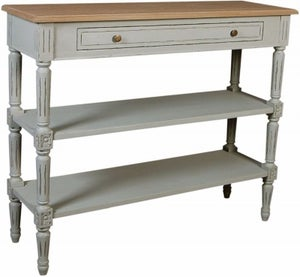 Charlotte French Distressed Stone Grey Console Table