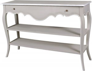 Chateau French Distressed Linen and Off-White 1 Drawer Console Table