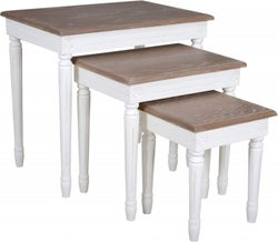 Delphine French Off-White Painted Nest of Tables