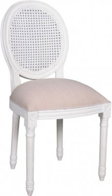 Delphine French Off-White Painted Lattice Back Dining Chair (Set of 4)