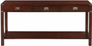 Normandy French Walnut Stain 3 Drawer Console Table