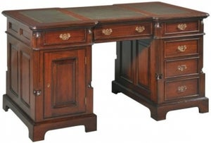 Palais French Mahogany and Green Leather 140cm Partners Desk