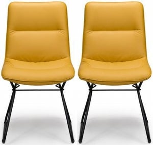 Darcy Ochre Faux Leather Dining Chair (Pair)