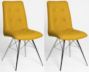 Tampa Ochre Faux Leather Dining Chair (Pair)