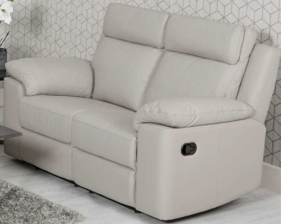 Enzo Putty Leather 2 Seater Electric Recliner Sofa