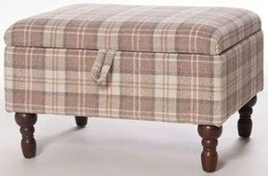 Shetland Latte Fabric Storage Footstool
