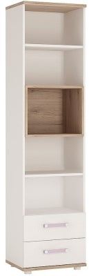 4Kids Tall Bookcase with Lilac Handles - Light Oak and White High Gloss