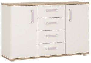 4Kids Sideboard with Lilac Handles - Light Oak and White High Gloss